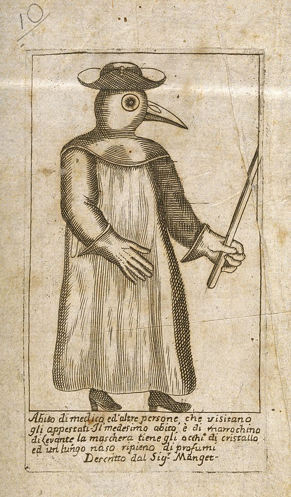 598px-A_physician_dressed_in_protective_plague_costume._Line_engra_Wellcome_V0010618.jpg