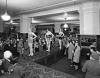 Hudson's Bay (retailer) - A swim suit fashion show at the Hudson's Bay Company store in Vancouver in 1932