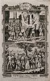 Above, four martyrs are chained to a post and burnt at the s Wellcome V0041625.jpg