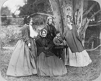 Jane Williams (missionary) - from left to right Emily Harper, wife of Henry Harper; Sarah Selwyn, wife of Bishop George Selwyn; Caroline Harriet Abraham, wife of Bishop Charles Abraham and (seated) Jane Williams. The little boy is thought to be Caroline Abraham's son, Charlie