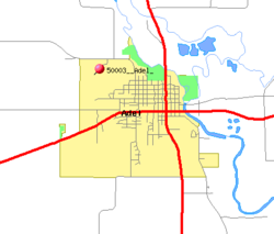 Detailed map of Adel