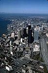 Aerial of downtown Seattle skyline, 1985 (29010708517).jpg