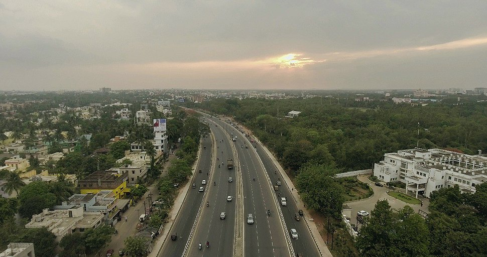Aerial view of flyover, Bhubaneswar