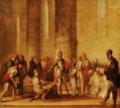 Afonso Africano armando cavaleiro seu filho D. João, na presença do cadáver do Marquês de Marialva na mesquita de Arzila depois da tomada desta cidade - Domingos Sequeira.png