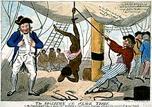 A cartoon image of the crew of a slave ship torturing a naked, female slave. The ship's captain is standing on the left, holding a whip. Sailors are standing on the right. In the centre, a female slave is hanging from a pulley by her ankle. Other naked slaves are in the background.