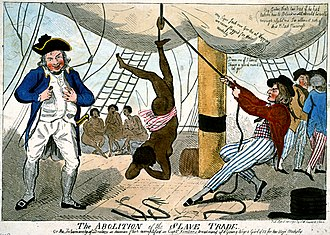 "Blockade of Africa - ""The Abolition of the Slave Trade or the inhumanity of dealers in human flesh exemplified in Captn. Kimber's treatment of a young Negro girl of 15 for her virjen (sic) modesty."" by Isaac Cruikshank, 1792. Shows an incident of an enslaved African girl whipped to death for refusing to dance naked on the deck of the slave ship; Briton Captain John Kimber was denounced before the House of Commons by William Wilberforce over the alleged incident."