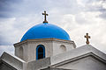 Agios Nikolaos blue domed church, the Town of Chora near Little Venice district. Mykonos island, Cyclades, Agean Sea, Greece.jpg