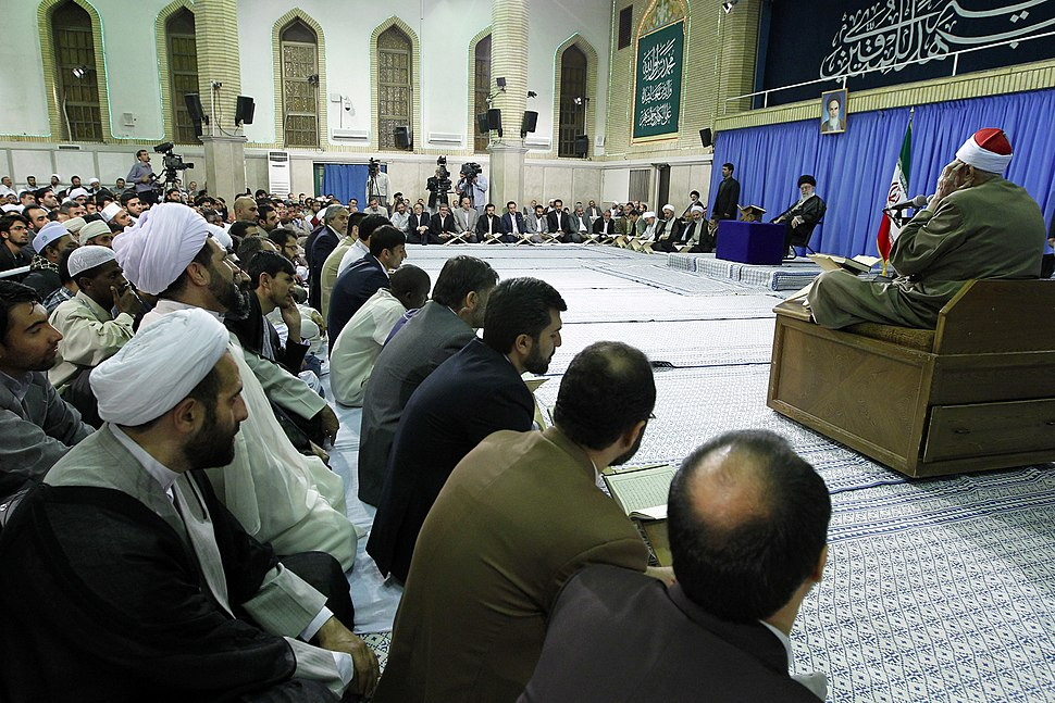 Ahmad Mohammad Amer in International Quran Competition's participants Meeting With Ali Khamenei 2013 09