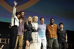 Aisha Tyler, Jason Momoa, Amber Heard, Nicole Kidman, Patrick Wilson, Yahya Abdul-Mateen II & James Wan (43723293462).jpg