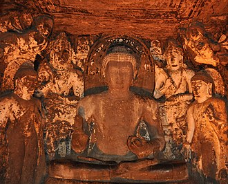 Mahāsāṃghika - The Buddha flanked by bodhisattvas. Cave 4, Ajaṇṭā Caves, Mahārāṣtra, India.