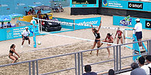 Two female beach volleyball player dressed in black receive a volley from two others dressed in red. Light blue boards covered in advertising enclose the sandy playing court.