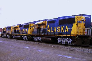Alaska GP49s at Seattle SODO (CC).jpg