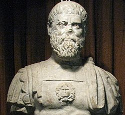 Alba Iulia National Museum of the Union 2011 - Possible Statue of Roman Emperor Pertinax Close Up, Apulum.JPG