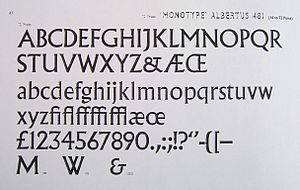 "Albertus (typeface) - A metal-type specimen for Albertus, showing three alternative characters: a variant  ""M"", ""W"" and ampersand."