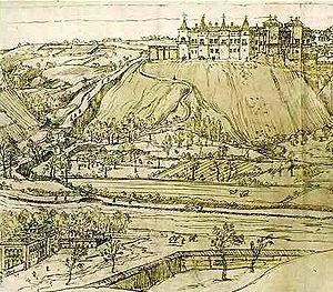 Royal Alcazar of Madrid - Part of the 1562 drawing by Antoon Van Den Wijngaerde, in which the building can be seen as it was a year after Philip II chose Madrid as the site of his court.