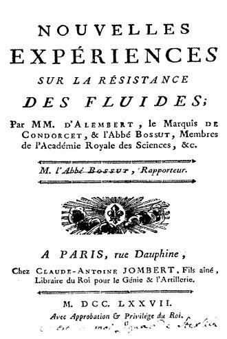 Friction loss - Jean Le Rond d'Alembert, Nouvelles expériences sur la résistance des fluides, 1777