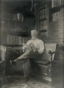 Alexander Kircher in his library room, around 1930.png