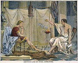 """That most enduring of romantic images, Aristotle tutoring the future conqueror Alexander"".[134] Illustration by Charles Laplante [fr], 1866 (Source: Wikimedia)"