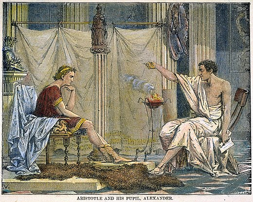 """That most enduring of romantic images, Aristotle tutoring the future conqueror Alexander"". Illustration by Charles Laplante [fr ], 1866 Alexander and Aristotle.jpg"
