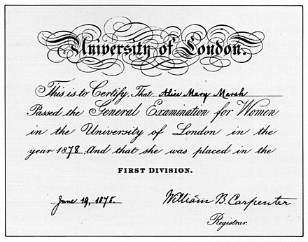 General Examination for Women certificate from 1878. These were issued 1869-1878, before women were admitted to degrees of the university. Alice Mary Marsh University of London General Examination for Women certificate 1878.jpg