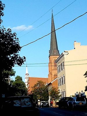 Frederick, Maryland - Church Street with All Saints and Reformed Church spires, Frederick