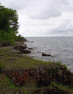 Kelleys Island, Ohio - Alvar habitat on Kelleys Island. South Bass Island visible in distance.