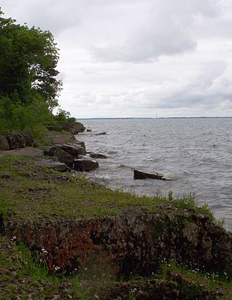 Kelleys Island, Ohio - Alvar habitat on Kelleys Island. South Bass Island visible in distance.