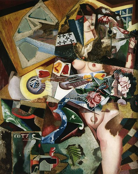 Ficheiro:Amadeo de Souza-Cardoso, Untitled (Coty), 1917, oil and collage on canvas, 94 x 76 cm.jpg