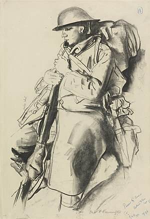 Eric Kennington - An Infantryman Resting  (1916)