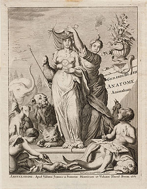 Veil of Isis - Science unveiling Nature in the frontispiece to Anatome Animalum, 1681