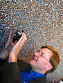 Anders shooting the metallic wall with meteor craters (4420043966).jpg