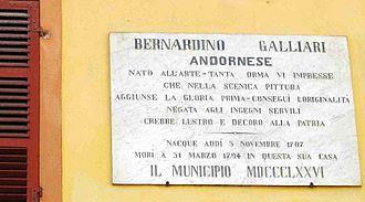 Bernardino Galliari - Memorial plaque for Galliari on his birth house in Andorno Micca