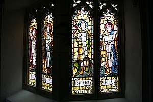 Selwyn Image - Stained glass depicting archangels in Mortehoe, designed by Image