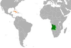Map indicating locations of Angola and Cuba