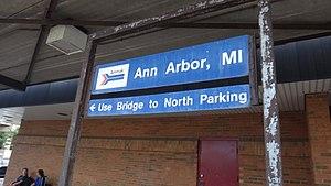 Ann Arbor station - Image: Ann Arbor Michigan Amtrak station sign