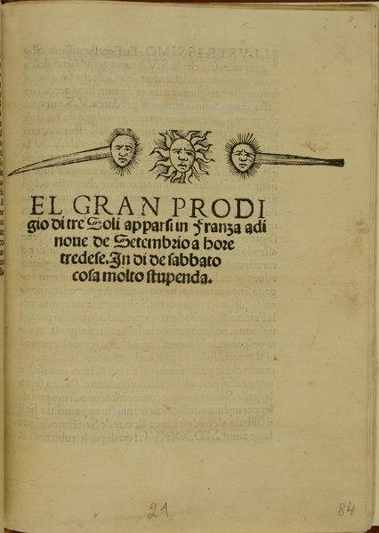 Anonimo - El gran prodigio di tre soli, Zanelli, Roma, 1536