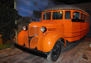 English: 1940s era Dodge school bus seen in th...