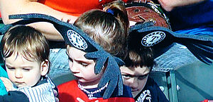 """2010 Texas Rangers season - Two Ranger fans wearing their """"antlers"""" to an October game"""