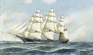 Antonio Jacobsen - The celebrated American clipper Challenge under full sail.jpg