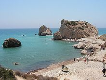"Petra tou Romiou (""The rock of the Greek""), Aphrodite's legendary birthplace in Paphos, Cyprus."
