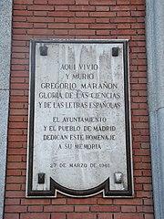 Lápida conmemorativa de Gregorio Marañón