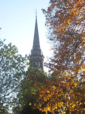 Steeple of Arlington Street Church in Boston, ...