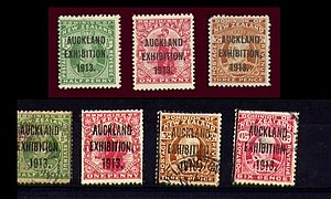 Auckland Exhibition - Forged overprints on 1913 New Zealand stamps.