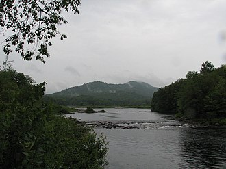 West Canada Creek - View of Ft. Noble Mountain taken at Nobleboro, including the remains of the old dam.