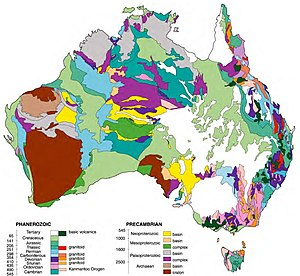 Australian Aboriginal mythology - Geological map of Australia