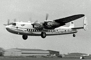Avro York - Air Charter York taking off from London Stansted in 1955 on a trooping flight to the Suez Canal Zone