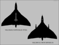 Avro Vulcan B.2 silhouettes showing external stores (Blue Steel and Skybolt).png