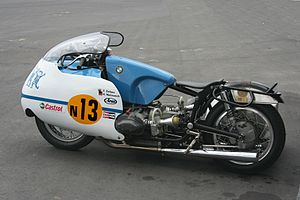 Sidecar World Championship - Modern replica of Max Deubel's 1960s low sitter with traditional 16 inch wheels with sidecar-tread racing tyres