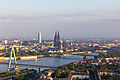 Ballonfahrt über Köln - Severinsbrücke, Deutzer Brücke, Blick Richtung Altstadt, Kölner Dom, KölnTurm-RS-4082.jpg