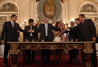 Rafael Correa, Evo Morales, Nestor Kirchner, Cristina Fernandez, Luiz Inacio Lula da Silva, Nicanor Duarte, and Hugo Chavez signed the founding charter of the Bank of the South. Banco del Sur.jpg